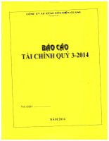 Báo cáo tài chính quý 3 năm 2014 - Công ty Cổ phần Bóng đèn Điện Quang