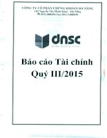 Báo cáo tài chính quý 3 năm 2015 - Công ty Cổ phần Chứng khoán Đà Nẵng