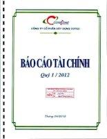 Báo cáo tài chính quý 1 năm 2012 - Công ty Cổ phần Xây dựng Cotec