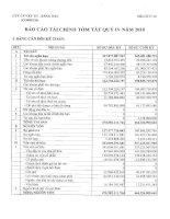 Báo cáo tài chính tóm tắt quý 4 năm 2010 - Công ty Cổ phần Vật tư - Xăng dầu