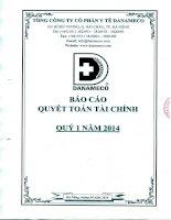Báo cáo tài chính quý 1 năm 2014 - Tổng Công ty cổ phần Y tế Danameco