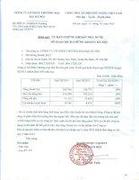 Báo cáo tài chính quý 3 năm 2014 - Công ty Cổ phần Thương mại Bia Hà Nội