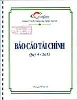 Báo cáo tài chính quý 4 năm 2012 - Công ty Cổ phần Xây dựng Cotec