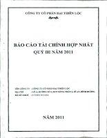Báo cáo tài chính hợp nhất quý 3 năm 2011 - Công ty Cổ phần Đại Thiên Lộc