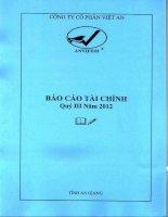 Báo cáo tài chính quý 3 năm 2012 - Công ty Cổ phần Việt An
