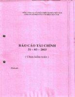 Báo cáo tài chính công ty mẹ quý 1 năm 2015 - Công ty cổ phần Dây Cáp Điện Việt Nam