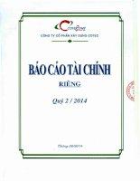 Báo cáo tài chính công ty mẹ quý 2 năm 2014 - Công ty Cổ phần Xây dựng Cotec