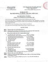 Nghị quyết Đại hội cổ đông thường niên năm 2013 - Công ty Cổ phần Du lịch Đắk Lắk