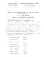 Nghị quyết Đại hội cổ đông thường niên - Công ty Cổ phần Khoáng sản Bắc Kạn