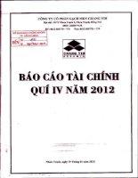 Báo cáo tài chính quý 4 năm 2012 - Công ty Cổ phần Gạch men Chang Yih