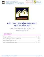 Báo cáo tài chính hợp nhất quý 4 năm 2012 - Công ty Cổ phần Địa ốc Đà Lạt