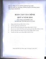 Báo cáo tài chính quý 4 năm 2014 - Công ty Cổ phần Chứng khoán Đại Việt