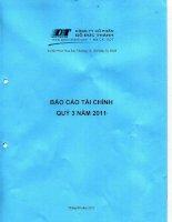 Báo cáo tài chính quý 3 năm 2011 - Công ty Cổ phần Chế biến Gỗ Đức Thành