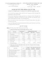 Nghị quyết Hội đồng Quản trị - Công ty cổ phần Đầu tư-Sản xuất và Thương mại Việt Nam