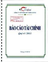 Báo cáo tài chính quý 4 năm 2011 - Công ty Cổ phần Xây dựng Cotec