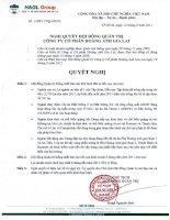 Nghị quyết Hội đồng Quản trị ngày 12-08-2011 - Công ty Cổ phần Hoàng Anh Gia Lai