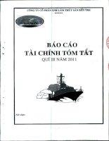 Báo cáo tài chính quý 3 năm 2011 - Công ty Cổ phần Xuất nhập khẩu Lâm Thủy sản Bến Tre