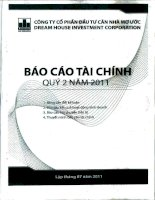 Báo cáo tài chính quý 2 năm 2011 - Công ty cổ phần Đầu tư Căn nhà Mơ ước