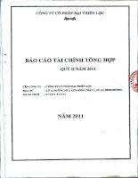 Báo cáo tài chính công ty mẹ quý 2 năm 2011 - Công ty Cổ phần Đại Thiên Lộc