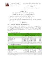 Nghị quyết đại hội cổ đông ngày 27-4-2010 - Công ty cổ phần Đầu tư Căn nhà Mơ ước