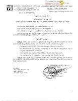 Nghị quyết Hội đồng Quản trị - Công ty Cổ phần Đầu tư và Phát triển giáo dục Hà Nội