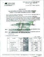 Nghị quyết Đại hội cổ đông thường niên năm 2011 - Công ty Cổ phần Chế biến Gỗ Đức Thành