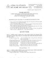 Nghị quyết Hội đồng Quản trị ngày 3-5-2011 - Công ty Cổ phần Kỹ nghệ Đô Thành