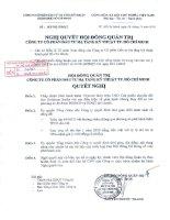 Nghị quyết Hội đồng Quản trị ngày 29-11-2010 - Công ty cổ phần Đầu tư Hạ tầng Kỹ thuật T.P Hồ Chí Minh