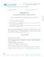 Nghị quyết Đại hội cổ đông thường niên năm 2011 - Công ty cổ phần Xây dựng và Kinh doanh Địa ốc Hoà Bình