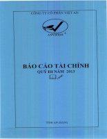 Báo cáo tài chính quý 3 năm 2013 - Công ty Cổ phần Việt An