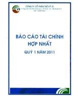 Báo cáo tài chính hợp nhất quý 1 năm 2011 - Công ty cổ phần Thế kỷ 21