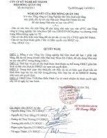 Nghị quyết Hội đồng Quản trị ngày 14-2-2011 - Công ty Cổ phần Kỹ nghệ Đô Thành