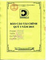 Báo cáo tài chính quý 3 năm 2015 - Tổng Công ty cổ phần Y tế Danameco
