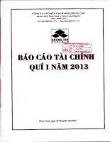Báo cáo tài chính quý 1 năm 2013 - Công ty Cổ phần Gạch men Chang Yih