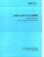 Báo cáo tài chính quý 3 năm 2014 - Công ty Cổ phần Chứng khoán Hưng Thịnh