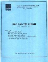 Báo cáo tài chính quý 3 năm 2013 - Công ty cổ phần CNG Việt Nam