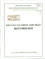 Báo cáo tài chính hợp nhất quý 3 năm 2010 - Công ty Cổ phần Xây dựng và Kinh doanh Vật tư