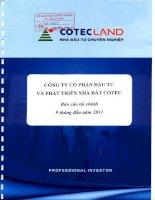Báo cáo tài chính công ty mẹ quý 3 năm 2011 - Công ty Cổ phần Đầu tư và Phát triển Nhà đất COTEC