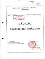 Báo cáo tài chính quý 3 năm 2011 - Công ty cổ phần Đầu tư và Phát triển Cảng Đình Vũ