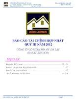 Báo cáo tài chính hợp nhất quý 3 năm 2012 - Công ty Cổ phần Địa ốc Đà Lạt