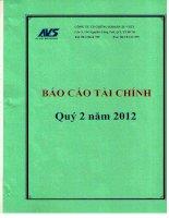 Báo cáo tài chính quý 2 năm 2012 - Công ty Cổ phần Chứng khoán Âu Việt