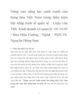 Nâng cao năng lực cạnh tranh của hàng hóa Việt Nam trong điều kiện hội nhập kinh tế quốc tế