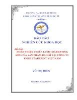 HOÀN THIỆN CHIẾN lƣợc MARKETING MIX của sản PHẨM BAO bì tại CÔNG TY TNHH STARPRINT VIỆT NAM