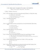 220 câu trắc nghiệm tin học văn phòng ôn thi Công chức  có Đáp án chi tiết