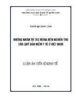 Những nhân tố tác động đến nguồn thu của Quỹ Bảo hiểm y tế ở Việt Nam