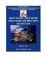 Bài báo cáo thực hành công nghệ chế biến thủy sản súc sản