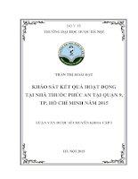KHẢO sát kết QUẢ HOẠT ĐỘNG tại NHÀ THUỐC PHÚC AN tại QUẬN 9, TP  hồ CHÍ MINH năm 2015