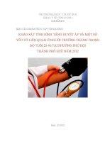Khảo sát tình hình tăng huyết áp và một số yếu tố liên quan ở người trưởng thành trong đô tuổi 25 60 tại phường phú hội tp  huế năm 2012