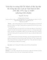 Giáo dục tư tưởng Hồ Chí Minh về độc lập dân tộc trong dạy học Lịch sử Việt Nam từ năm 1945 đến 1975, lớp 12 THPT (chương trình chuẩn)