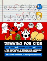 free drawing book for kids cartooning with letters numbers words